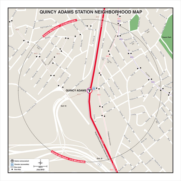 Quincy Adams Station Neighborhood Map (Jul. 2012)