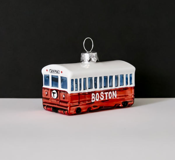 MBTA Red Line Subway Car Glass Ornament