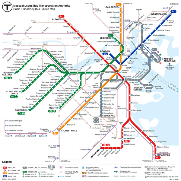 2018 MBTA Rapid Transit / Key Bus Routes Map (v.31A)