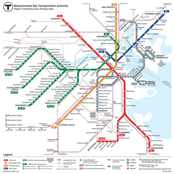 2020 MBTA Rapid Transit / Key Bus Routes Map (Feb. 2020)
