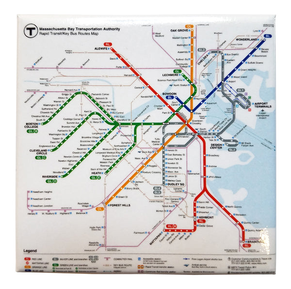MBTA Rapid Transit Map (2018) Magnet