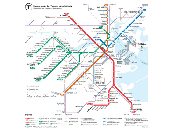 2014 MBTA Rapid Transit Map POSTER