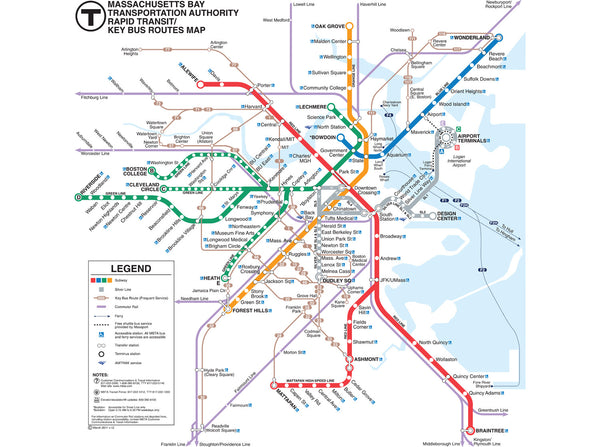 2011 Mbta Rapid Transit Map W Key Bus Routes Mbtagifts