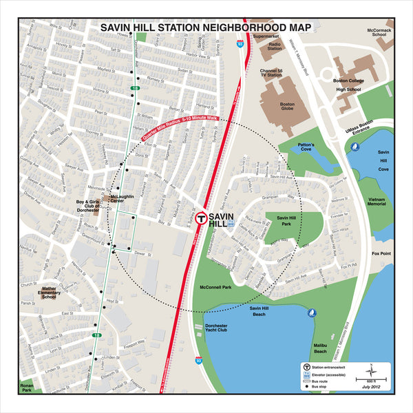 Savin Hill Station Neighborhood Map (Jul. 2012)