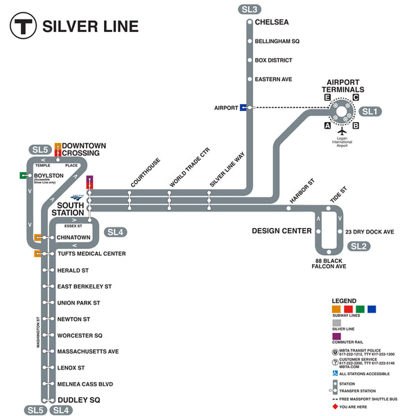 Silver Line Map Silver Line Gateway Map (2018) Square Format – MBTAgifts by