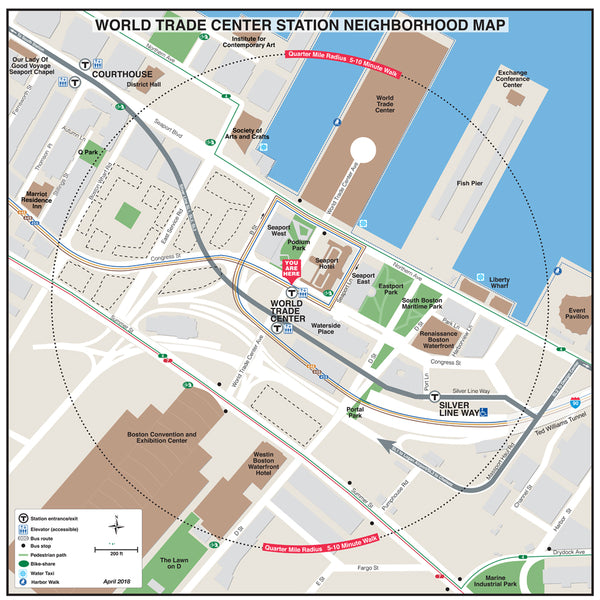 World Trade Center Station Neighborhood Map (April 2018)