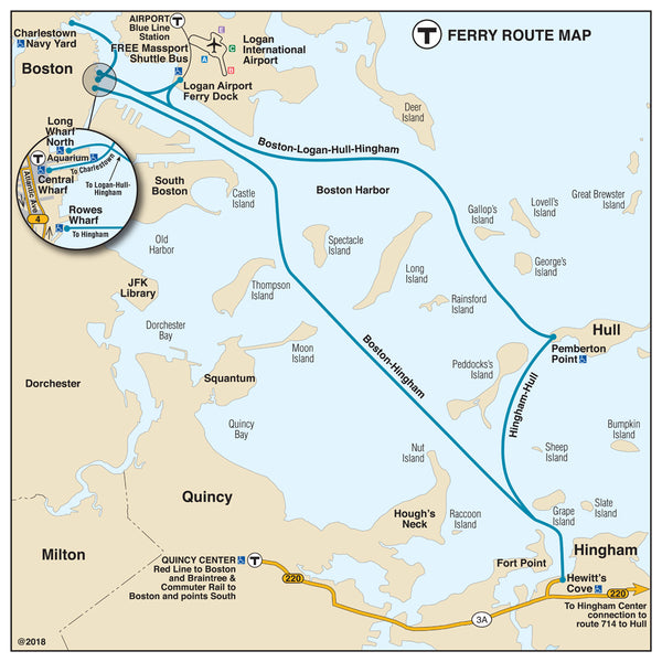 MBTA Ferry Route Map (2018)