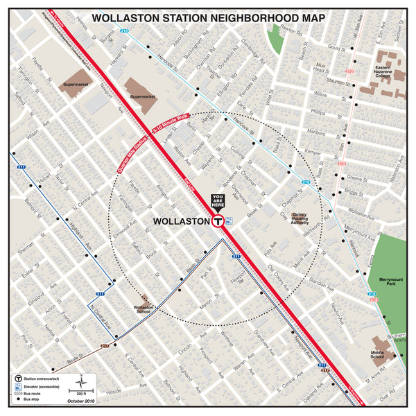 Wollaston Station Neighborhood Map (October 2018)