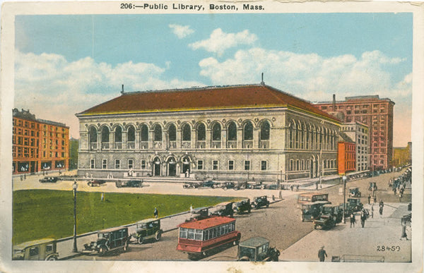Boston Public Library with Vintage Bus