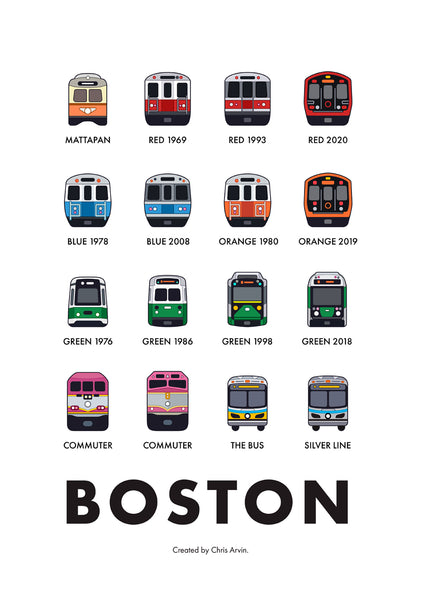Boston Transit Vehicles Print