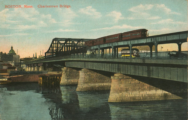 Charlestown Bridge with Rapid Transit Train and Streetcar