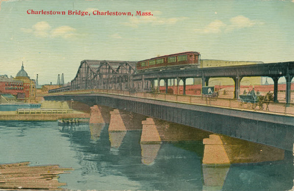 Charlestown Bridge with Rapid Transit Train