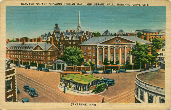 Harvard Square showing Lehman Hall and Straus Hall