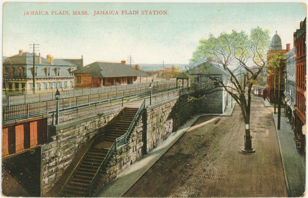 Jamaica Plain Station showing the Elevated Railways