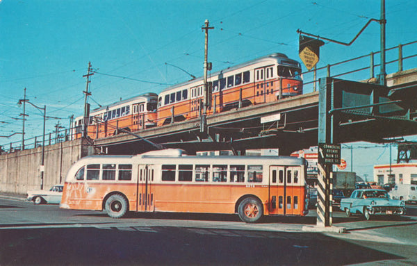 PCC Cars and Trackless Trolley at Lechmere
