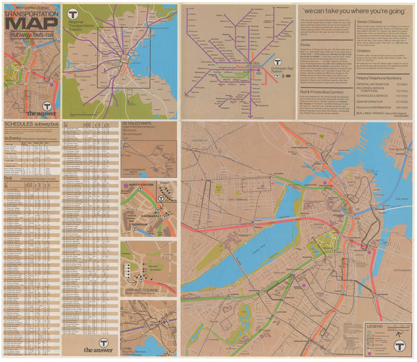 1974 MBTA System Map (Back)