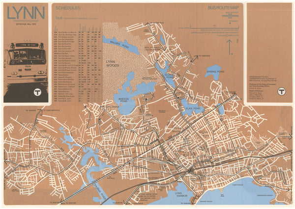 1975 MBTA Lynn Bus Map