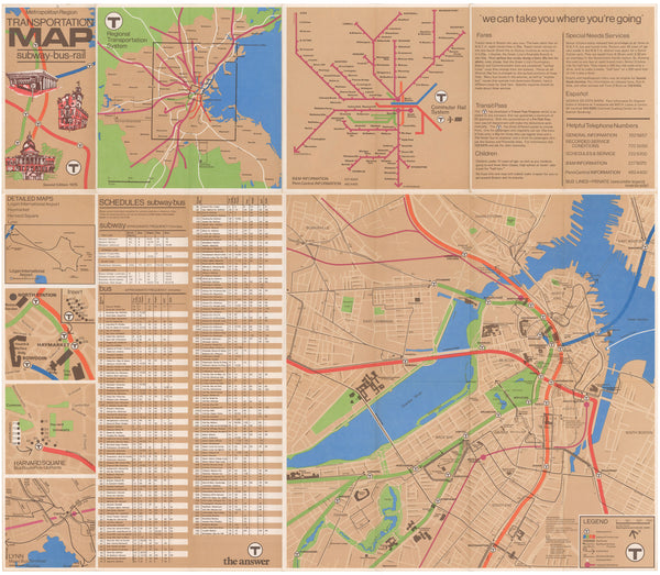 1975 MBTA Map (Back)
