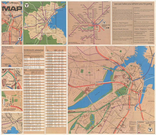 1976 (Spring) MBTA System Map (Back)