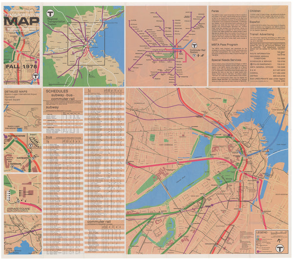 1976 (Fall) MBTA System Map (Back)