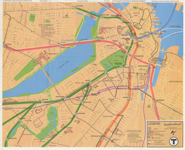 1982 MBTA System Map (Downtown)