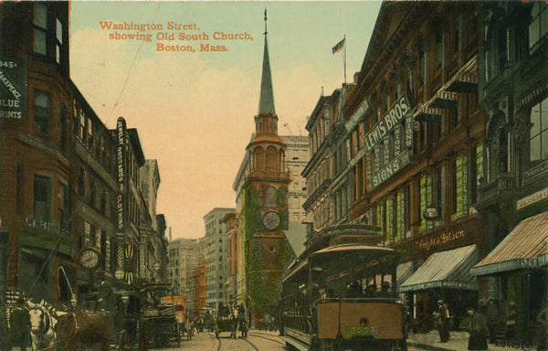 Washington Street Trolleys Showing Old South Church