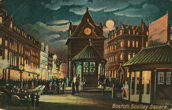 Scollay Square Station Head Houses at Night