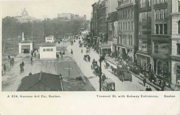 Tremont Street with Subway Entrances
