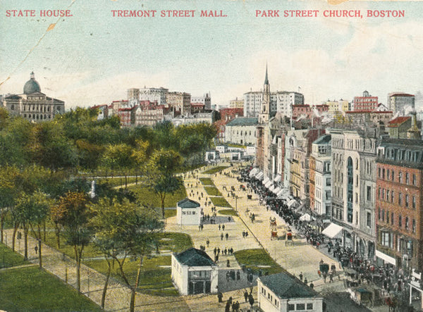 Tremont Street showing the State house and Subway Entrances