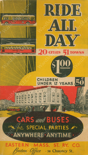 "Eastern Mass. Street Railway Co. ""Ride All Day for $1"" Brochure Cover 1936"