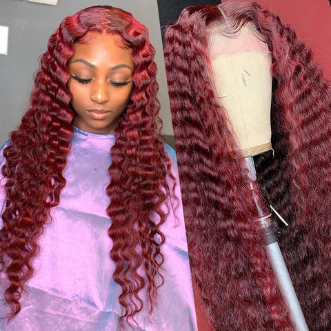 Curly Red 360 Lace Frontal Wig