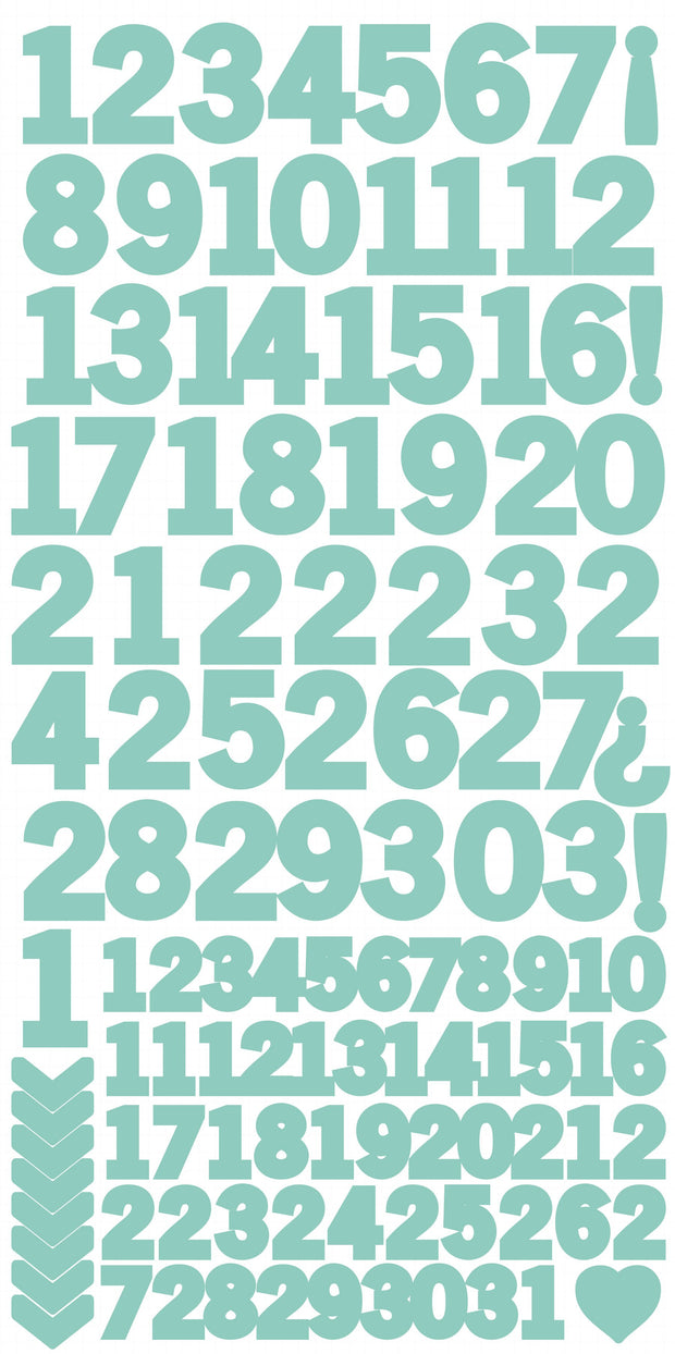 Number Stickers - Sea Green