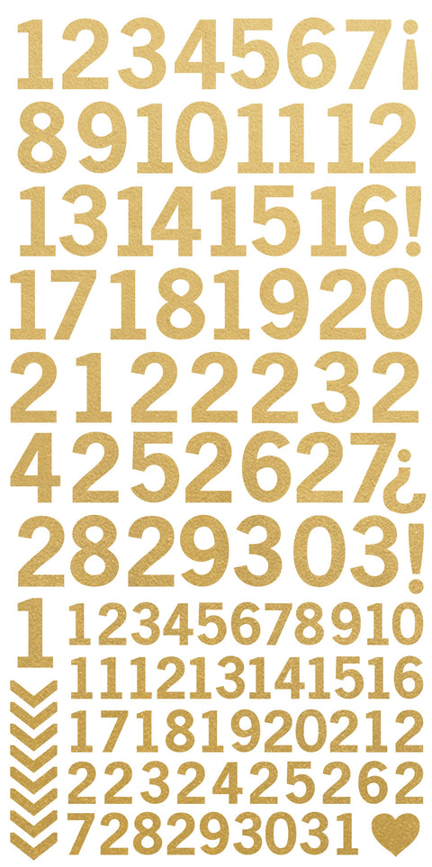 Number Stickers - Metallic Gold