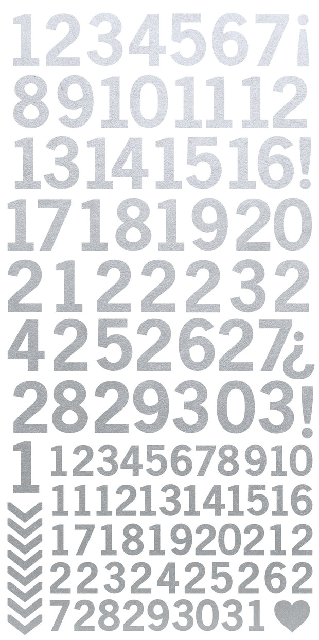 Number Stickers - Metallic Silver