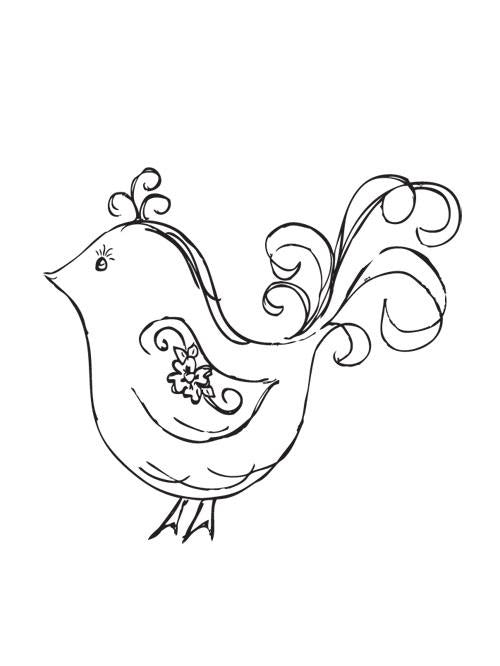 Mini Clear Stamp - Flourish Bird