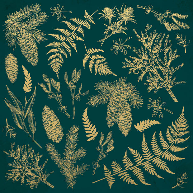 Emerald Eve 12x12 Scrapbook Paper - EMERALD LEAVES