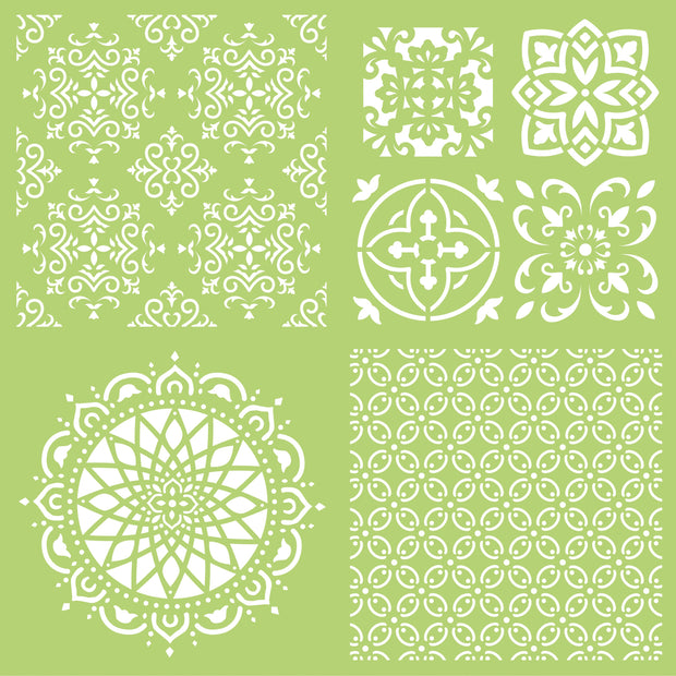 "12x12"" Designer Templates- Intricate Tiles"