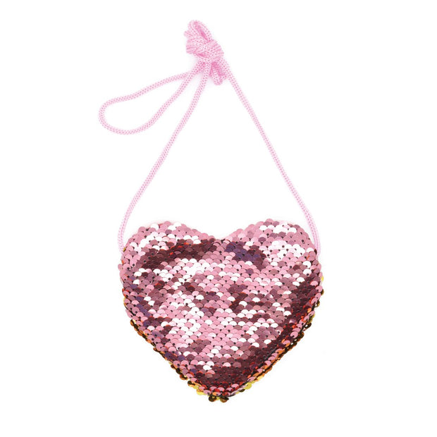 KaiserKids - Sequin Heart Bag - PINK & GOLD