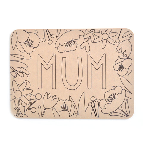 Colour Your Own Placemat - Mum Floral