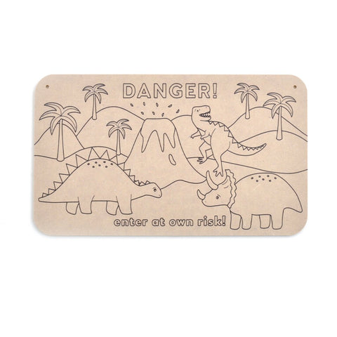Colour your Own Door Sign - DINO