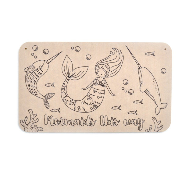 Colour your Own Door Sign - MERMAIDS
