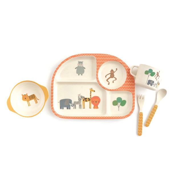 Bamboo Tableware Divided Set 5pc - SAFARI ADVENTURE