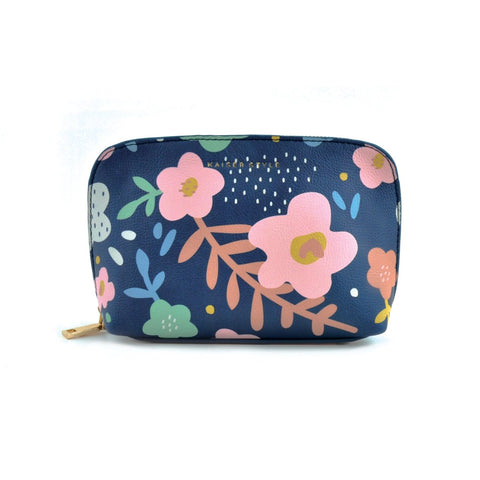 Small Cosmetic Bag - Navy Floral