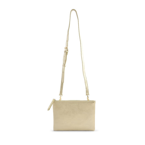 Rectangle Shoulder Bag - Metallic Gold