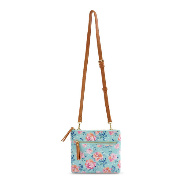 Square Shoulder Bag - Light Blue Floral