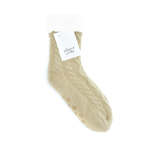 Slipper Sock - Cable Knit Light Oatmeal