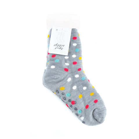 Slipper Sock - Multi Spot Grey