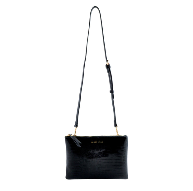 Rectangle Shoulder Bag - BLACK CROC