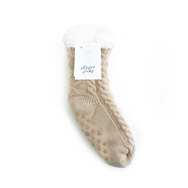 Slipper Sock - CABLE KNIT OATMEAL