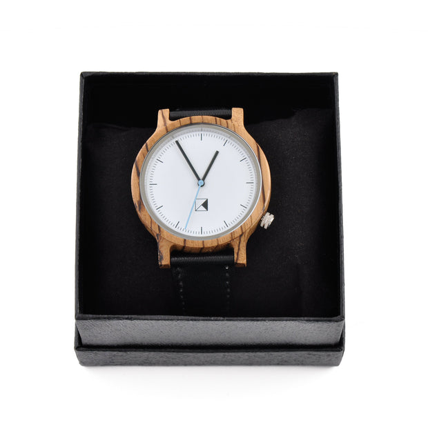 K Style - Zebra Wood White Face Leather Strap Watch